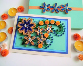 Quilled Greeting card,Quillihg Flowers,3D Flowers card,Romantic Card,Mother's Day Card,Anniversary Cards,All Ocassion Card,Thank You Card