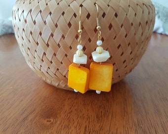 Orange and white earrings
