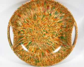 Mid-Century Melamine Melmac Double Handled Splatter Speckled Serving Bowl
