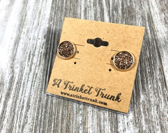 50% off- TODAY ONLY- Rusty Rose Earrings- Druzy Studs