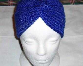 Crochet Chemo Cap in Caron Brand Soft Royal Sparkle Turban Style
