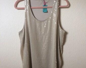 Cool indie cream sequin mini dress