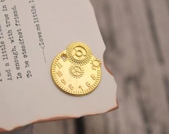20 clock gear charms gold  wheel gear charm pendants