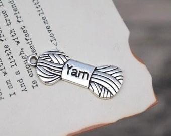 10 antique silver wool yarn charms knitting charm pendant pendants  (L01)