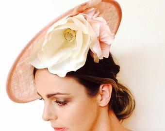 Kentucky Derby hat, Kentucky Oaks Hat, Pink Saucer, Kate Middleton hat, Wedding Hat, Ladies Races Hat, Saucer Hat, Pink Kentucky Derby Hat
