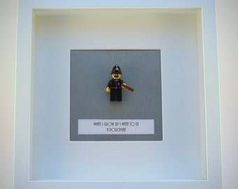 When I grow up I want to be..... A Policeman LEGO mini Figure framed picture 25 by 25 cm