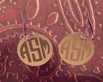 Silver Monogram disk earrings
