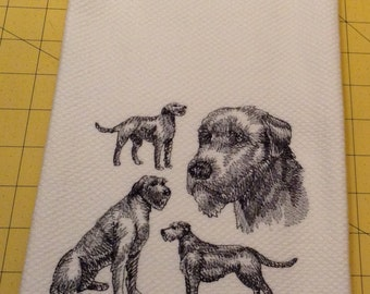 Irish Wolfhound Collage Sketch! Williams Sonoma All Purpose Embroidered Kitchen Hand Towel 100% cotton, XLarge