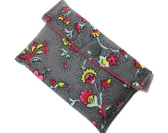 pocket cards card holders in taupe fabric flower