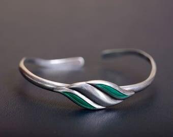 Sterling silver enamel cuff bracelet Made in USSR