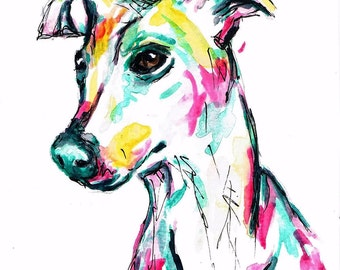 A6 Original Whippet Greeting card watercolour, dog, colourful, special occasion, birthday, thank you cards, whippet gifts, whippet card