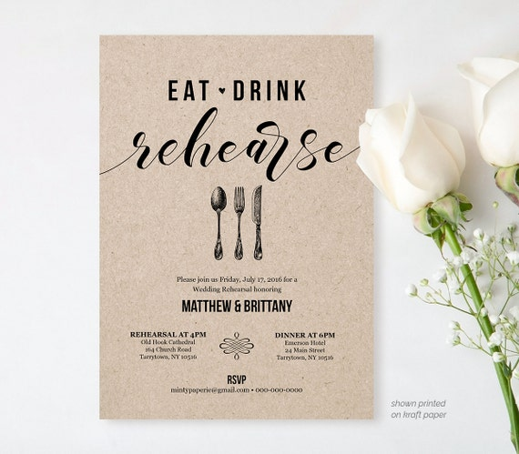 Wedding Rehearsal Invitations: Rehearsal Dinner Invitation Template Printable Rustic Wedding