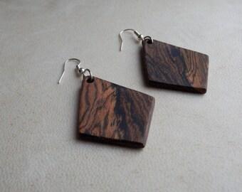 Wooden Earrings. Wood Earrings Hand Crafted From Exotic Bocote Wood. Dangle Earrings. Exotic Wood Earrings.