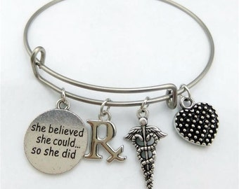 Pharmacist Bracelet, She believed she could so she did, Medical Bracelet, Pharmacist Gift, Bangle Bracelet