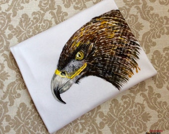 Hand painted t-shirt/Man's T-shirt/birds/Eagle/bird of prey/Short Sleeve T shirt/T Shirt Tee/Father's Day/large size/Mélange/tee shirts