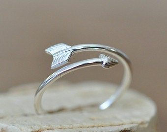 Adjustable Sterling Silver Arrow Thumb Ring