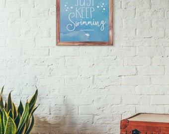 Printable Art, Instant Download, Just Keep Swimming, Typography Poster, Teen, Quote Print, Digital Download
