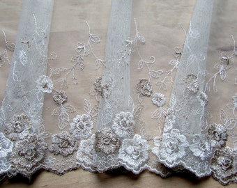 Tulle Lace Trim - Bridal Lace - Lace Fabric - Cream Lace - Bra Making Materials