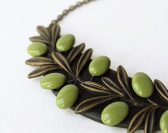 Polymer Clay Necklace Pendant Jewelry Berries Green Olive Branch Statement Summer Art Polymer Clay Necklace Pendant Mothers Day Gift
