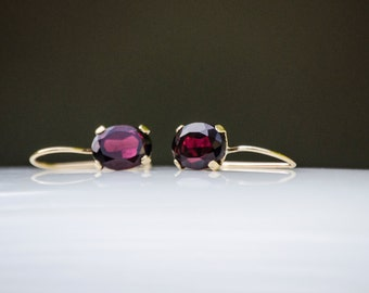 14K Gold Garnet Earrings - Garnet Drop Earrings - 14K Gold  Earrings - Natural Garnet Earrings - Garnet Gold Earrings - Red Garnet Earrings