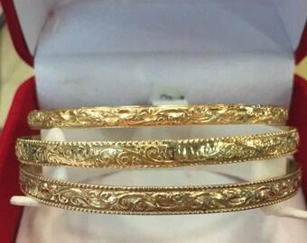 Solid Gold Bracelet - Filigree - Bangle Bracelet - 14k Bracelet - Yellow Gold Bracelet - Filigree Jewelry - Gold Bracelet - Bridal Bracelet