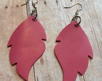 Pink leaf leather earrings, pink leather leaf earrings, pink leather earrings