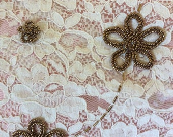 """Vintage Cotton Lace with Bronze Metal Beading, 39""""x22.5"""""""