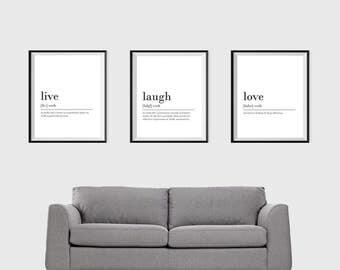 Set Of 3 Prints Live Laugh Love Digital Download Print INSTANT DOWNLOAD Definition