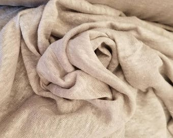 "100%Linen jersey knit Natural fiber ""Grey""by the yard Eco-friendly 60"" wide"