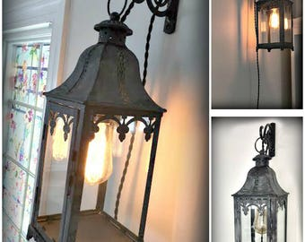 40 off! Gorgeous Gray washed Lantern - Table Lamp or Wall Hanging - Cottage - Farmhouse - Industrial