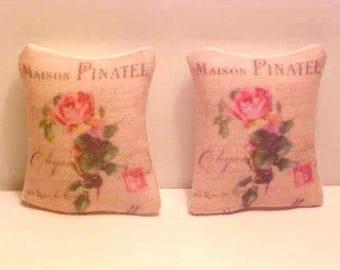 2 Miniature Throw Pillows Pinatel Paris Chic Dollhouse Diggs Artisan Made 1:12 French Parisian