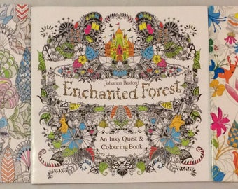 Set Of 3 Mini Coloring Books Enchanted Forest Animal Kingdom Fantasy Dream