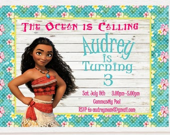 Moana Birthday Invitation - Floral - Personalized - Digital