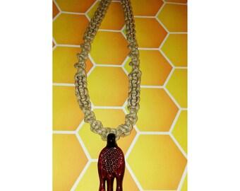 Drippy Honeycomb pendant necklace- light & dark brown 1mm hemp intertwined 710~BHO~THC~Wax~Shatter
