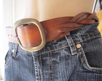 Vintage 70s woven leather belt cowhide leather belt hippie