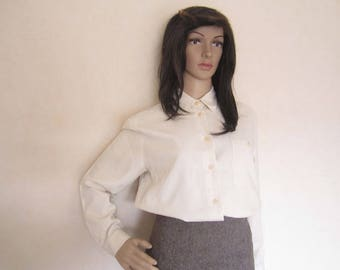 Vintage 80s silk blouse silk blouse Hess natural M