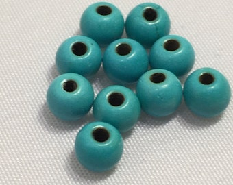 4 mm 10 pc Turquoise Dyed Howlite