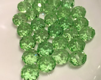 8mm Transparent Peridot Green Faceted Rondelle Crystals  30pc