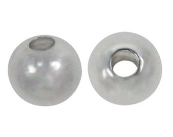 2 Sterling Silver, 8mm shiny round beads with 3mm hole for Jewellery Making Mala Making Spacer Beads