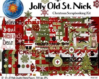 Traditional Christmas Scrapbook Kit 82 Elements 12 -12x12 Digital Papers Santa Reindeer Tree Ornament - Scrapbook Paper, Embellishments