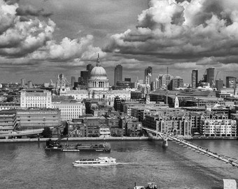 St. Paul's Cathedral London, Hand Printed Silver Gelatin Photo Print Signed and Mounted