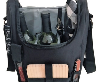 Plush Picnic - 2 Person Wine and Cheese Insulated Cooler Tote with Glasses & Wood Cheese Board Set