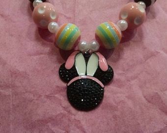 Mouse with Bunny Ears Girls Chunky Bubblegum Necklace.  Pink Bunny Ears Mouse Gumball Necklace