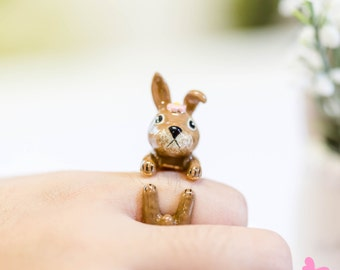 "Lovely Cute Hand Painting Enamel Rabbit Ring (""Dear Rabbit Project"")"