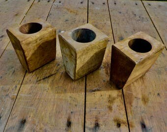 Set of 2 Small Sugar Mold Candle Holders