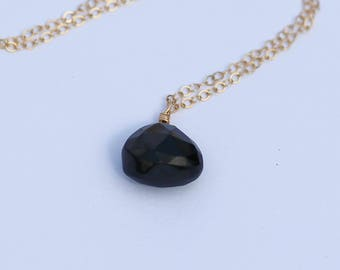 Black Onyx Necklace, 14K Gold Filled, Sterling Silver, 14K Rose Gold