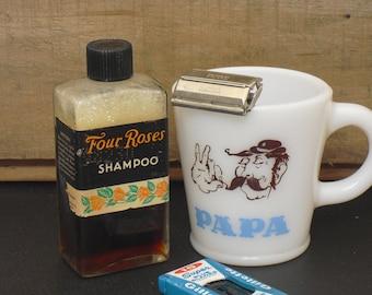 Vintage Bottle of Four Roses Shampoo, Barber Shop Display, 4 Fluid Ounces, Original Label and Lid, Gift for Him, Men's Travel Shampoo