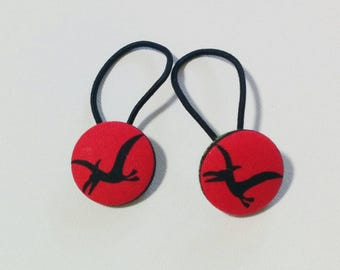 pterodactyl dino dinosaur fabric covered buttons hair ties ponytail elastics *set of 2*
