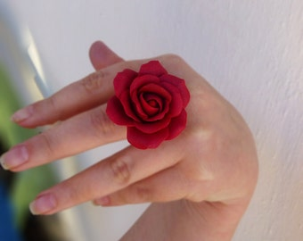 Rose ring Aurora red ring Large  ring Jewelry rose Flower ring Red jewelry Gift for women Cute ring Handmade rose Large rose ring SIZE 7,8