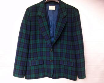Vintage Classic Plaid Blazer, 1970's Pendleton Plaid Jacket, Preppy Jacket, Pure Virgin Wool Jacket